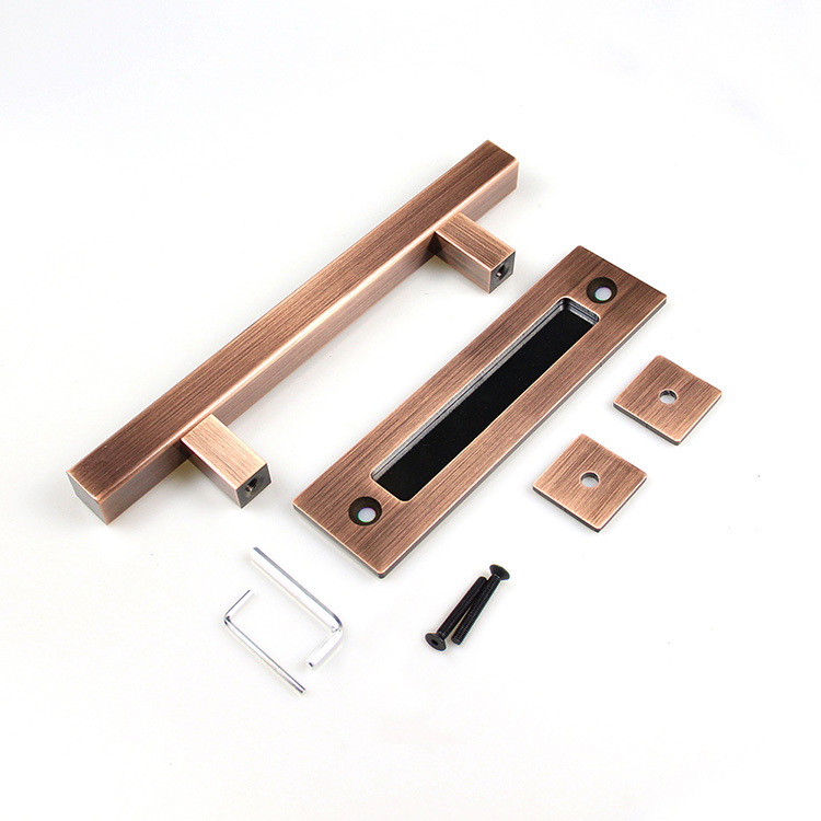 Heavy Duty Powder Coated AC Finish Matches Industrial Design Hardware Kits Flush Pull Barn Door Handle