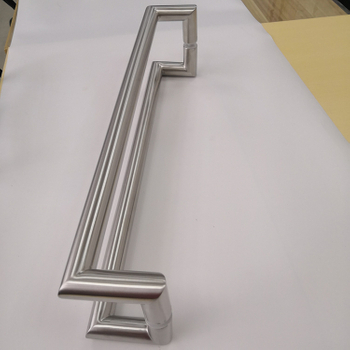 Central Satiny 304 Stainless Steel Cranked Pull Handle Apply To 8-12mm Thickness Front Glass Door And Wood Door Made in China