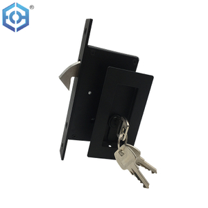 Black 304 Stainless Steel Square Sliding Door Lock for Wooden Doors
