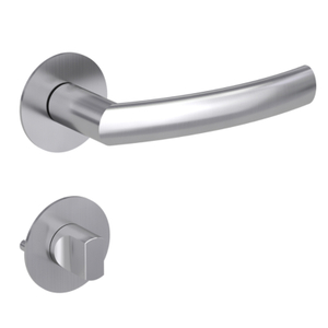 Round Shape Satin Stainless Steel Lever Door Handle Magnetic Function