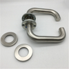 Fire Rated Lever on Rose Round Bar Return To Door Handle Pair Satin Stainless Steel