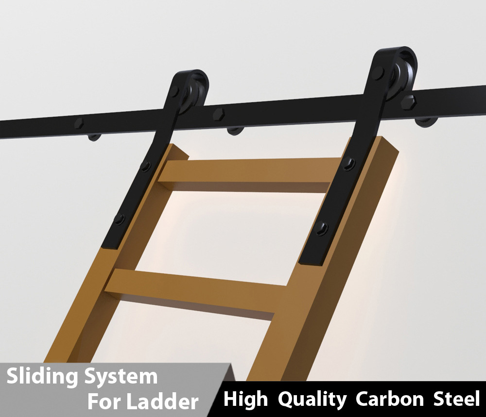Black rolling library ladders high quality carbon steel sliding system for wooden ladders