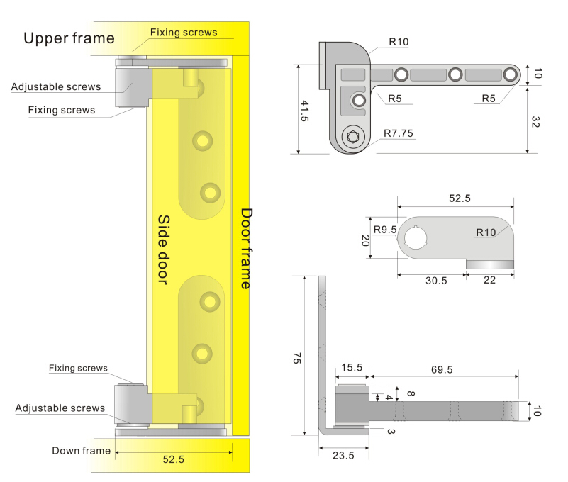 Factory Up-Down Shaft Stainless Steel Door Rotating Pivot Hinge 360 Degree Furniture Hinges