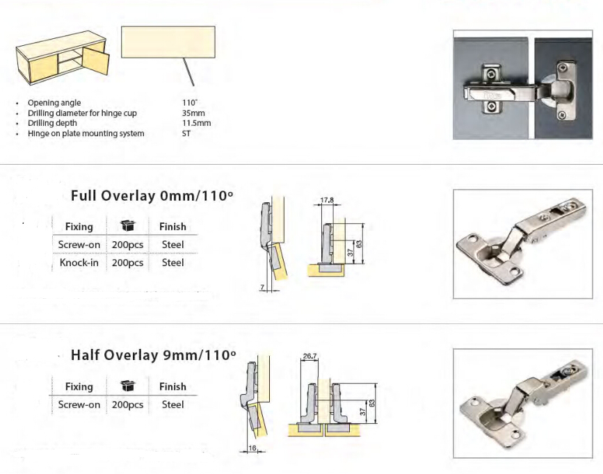 cabinet hinges full Overlay 0mm/110°