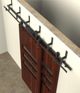 Double Track Bypass Sliding Barn Door Hardware Kit for Two Doors