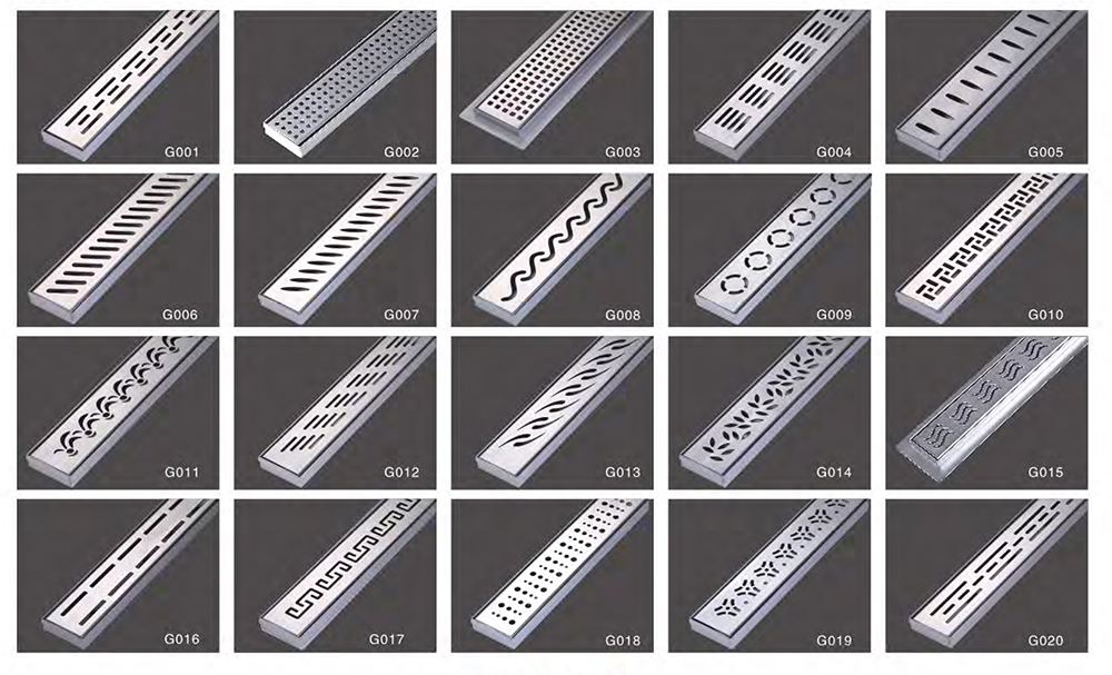 Linear Shower Drain with Stainless Steel Drain Grate